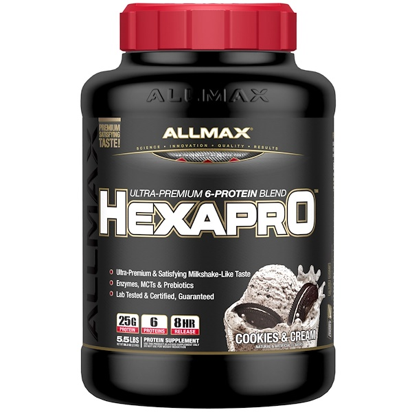 ALLMAX Nutrition, Hexapro, Ultra-Premium Protein + MCT & Coconut Oil, Cookies & Cream, 5.5 lbs (2.5 kg) (Discontinued Item)