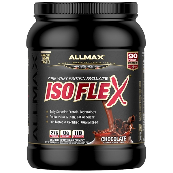 ALLMAX Nutrition, Isoflex, 100% Ultra-Pure Whey Protein Isolate (WPI Ion-Charged Particle Filtration), Chocolate, 0.9 lbs (425 g) (Discontinued Item)