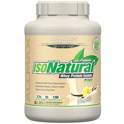 IsoNatural, 100% сверхчистый изолят натурального сывороточного белка (WPI90), ваниль, 5 фунтов (2,27 кг)