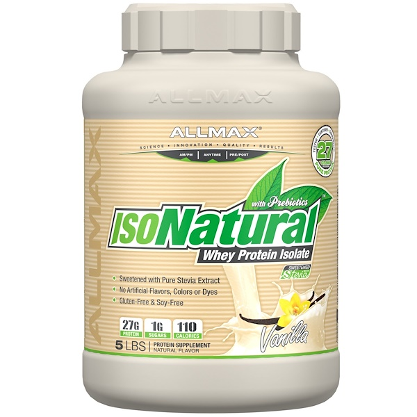 ALLMAX Nutrition, IsoNatural, 100% Ultra-Pure Natural Whey Protein Isolate, Vanilla, 5 lbs (2.27 kg)
