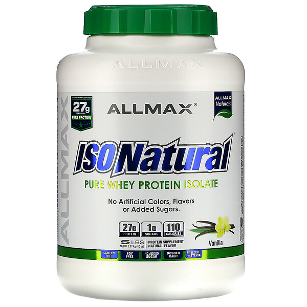 IsoNatural, Pure Whey Protein Isolate, Vanilla, 5 lbs (2.27 kg)