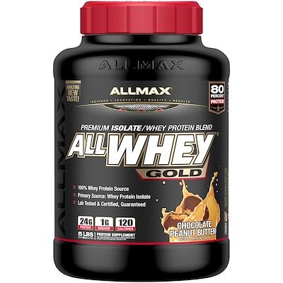 Купить AllWhey Gold, 100% сывороточный протеин + Premium изолят сывороточного протеина, шоколадное арахисовое масло, 5 ф. (2, 27 кг)