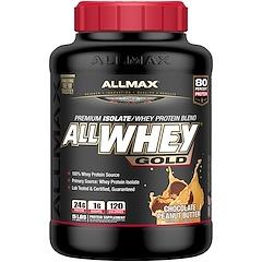 ALLMAX Nutrition, オールホエイ・ゴールド、100%ホエイプロテイン + プレミアム・ホエイプロテインアイソレート、チョコレートピーナッツバター、5ポンド (2.27 kg)