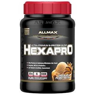 ALLMAX Nutrition, Hexapro, Ultra-Premium Protein + MCT & Coconut Oil, Chocolate Peanut Butter, 3 lbs (1.36 kg)