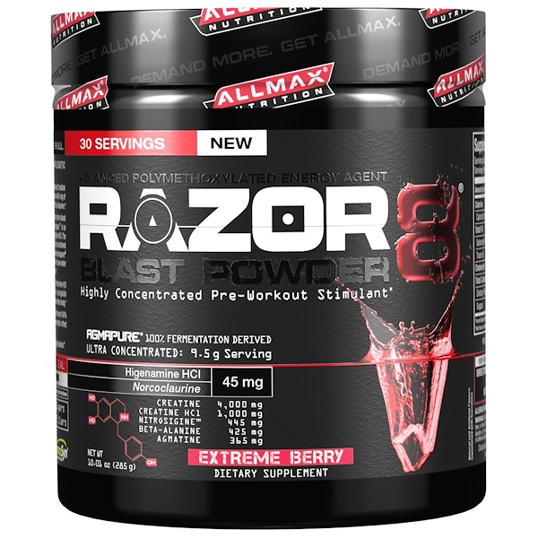 ALLMAX Nutrition, Razor 8, Pre-Workout Energy Drink with Yohimbine, Extreme Berry, 10.01 oz (285 g) (Discontinued Item)