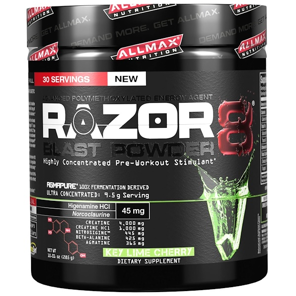 ALLMAX Nutrition, Razor 8, Pre-Workout Energy Drink with Yohimbine, Key Lime Cherry, 10.01 oz (285 g) (Discontinued Item)