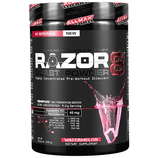 ALLMAX Nutrition, Razor 8, Pre-Workout Energy Drink with Yohimbine, Watermelon, 20.11 oz (570 g) (Discontinued Item)