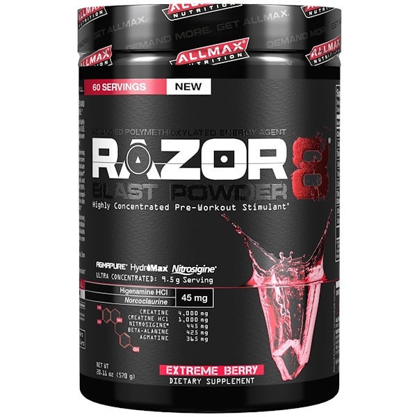 ALLMAX Nutrition, Razor 8, Pre-Workout Energy Drink with Yohimbine, Extreme Berry, 20.11 oz (570 g) (Discontinued Item)