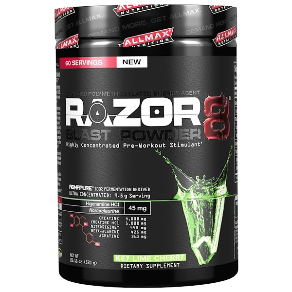 ALLMAX Nutrition, Razor 8, Pre-Workout Energy Drink with Yohimbine, Key Lime Cherry, 20.11 oz (570 g) (Discontinued Item)