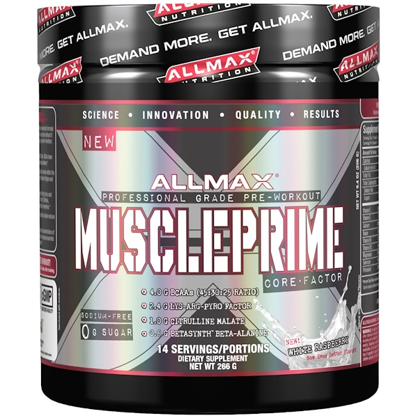 ALLMAX Nutrition, Muscle Prime Core Factor, Professional Grade Pre-Workout, White Raspberry, 9.4 oz (266 g) (Discontinued Item)