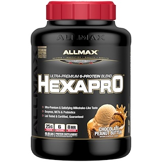 ALLMAX Nutrition, Hexapro, Ultra-Premium Protein + MCT & Coconut Oil, Chocolate Peanut Butter, 5.5 lbs (2.5 kg)
