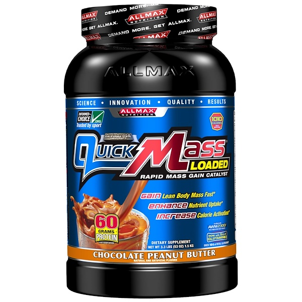 ALLMAX Nutrition, Quick Mass Loaded, Rapid Mass Gain Catalyst, Chocolate Peanut Butter, 3.3 lbs (1.5 kg) (Discontinued Item)
