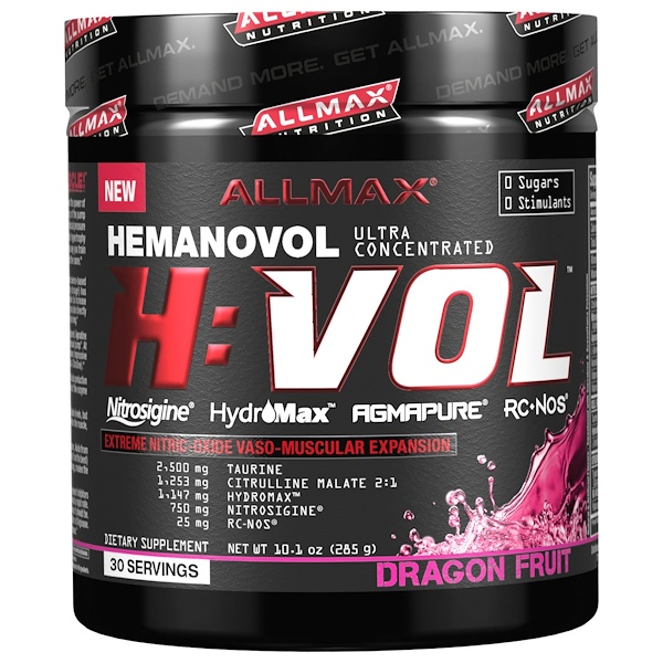 ALLMAX Nutrition, H:VOL, Nitric Oxide Pre-Workout + Vascular Blood Volumizer, Dragon Fruit Punch, 10.1 oz (285 g) (Discontinued Item)