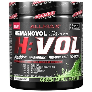 ALLMAX Nutrition, H:VOL, Nitric Oxide Pre-Workout + Vascular Blood Volumizer, Green Apple Martini, 10.1 oz (285 g)