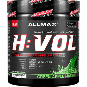Оллмакс Нутришн, H:VOL, Extreme Nitric Oxide, Vaso-Muscular Expansion, Green Apple Martini, 10.1 oz (285 g) отзывы покупателей