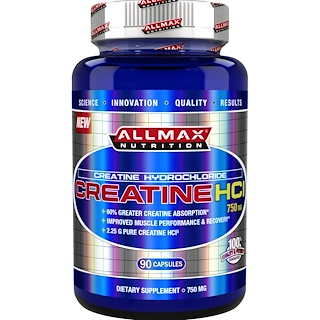 ALLMAX Nutrition, 100% Pure Creatine HCI, 60% Greater Creatine Absorption, 750 mg, 90 Capsules