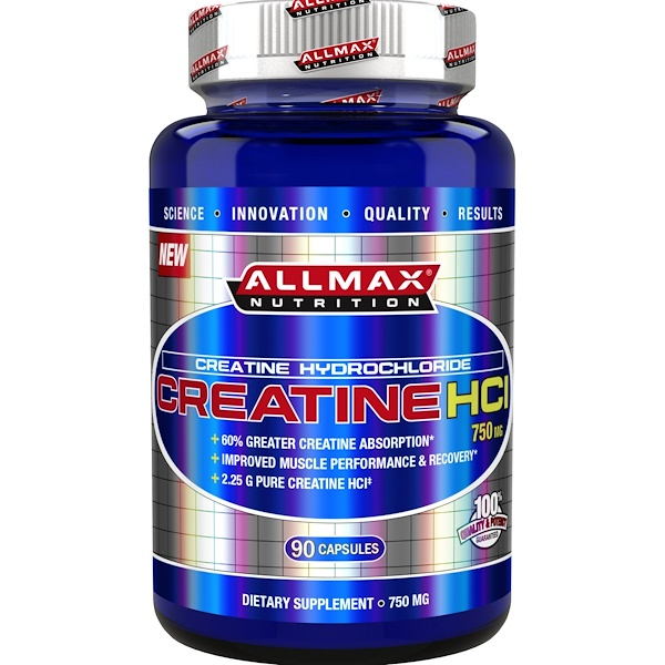ALLMAX Nutrition, 100% Pure Creatine HCI, 60% Greater Creatine Absorption, 750 mg, 90 Capsules (Discontinued Item)