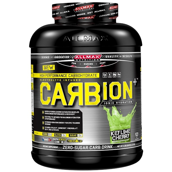 ALLMAX Nutrition, CARBion+, Maximum Strength Electrolyte + Hydration Energy Drink, Key Lime Cherry, 5 lbs. (2.27 kg) (Discontinued Item)