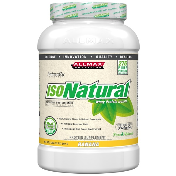ALLMAX Nutrition, IsoNatural, 100% Ultra-Pure Natural Whey Protein Isolate (WPI90), Banana, 2 lbs (907 g) (Discontinued Item)