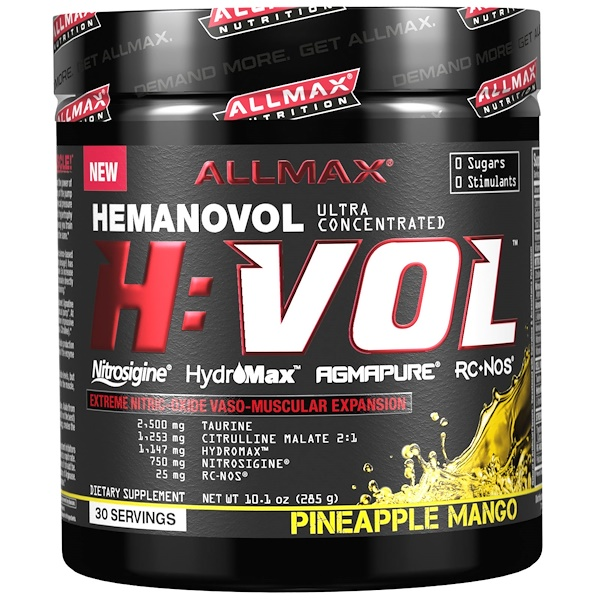 ALLMAX Nutrition, H:VOL, Extreme Nitric Oxide  Vaso-Muscular Expansion, Pineapple Mango, 10.1 oz (285 g) (Discontinued Item)