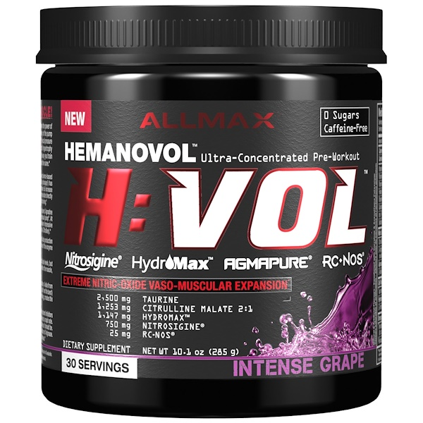 ALLMAX Nutrition, H:VOL, Extreme Nitric Oxide  Vaso-Muscular Expansion, Intense Grape, 10.1 oz (285 g) (Discontinued Item)