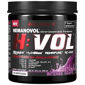 Оллмакс Нутришн, H:VOL, Extreme Nitric Oxide  Vaso-Muscular Expansion, Intense Grape, 10.1 oz (285 g) отзывы