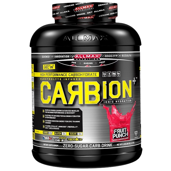 ALLMAX Nutrition, CARBion+, Maximum Strength Electrolyte + Hydration Energy Drink, Fruit Punch, 5 lbs (2.35 k) (Discontinued Item)