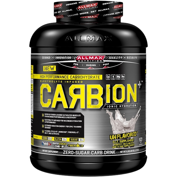 ALLMAX Nutrition, CARBion+, Maximum Strength Electrolyte + Hydration Energy Drink, Unflavored, 5 lbs (2.27 kg) (Discontinued Item)