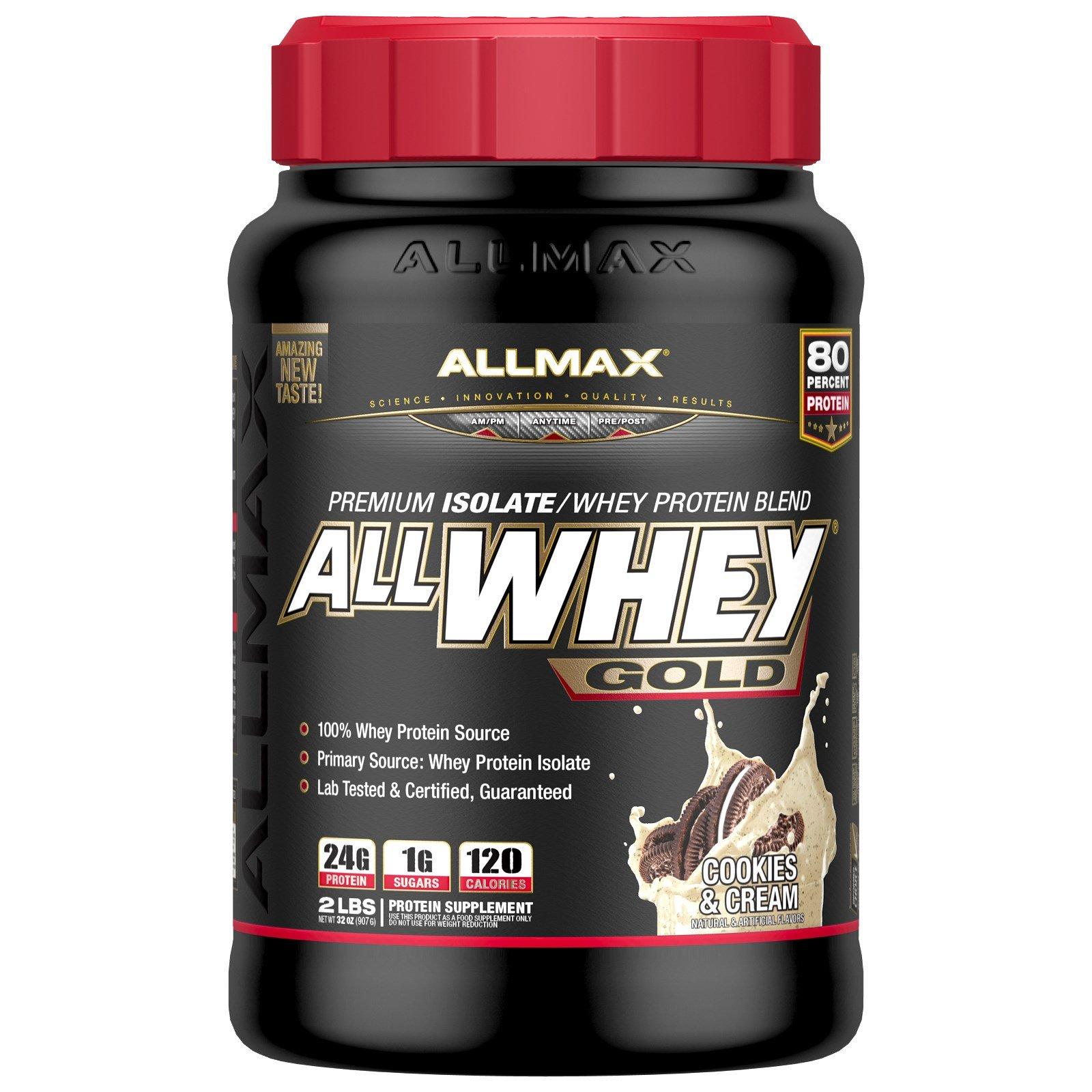 ALLMAX Nutrition, AllWhey Gold, 100%-ный сывороточный протеин + премиум-изолят сывороточного протеина, печенье и сливки, 2 фунта (907 г)
