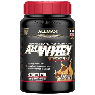 AllWhey Gold, 100% сывороточный протеин+ премиум-изолят сывороточного протеина, шоколад и арахисовое масло, 2 фунта (907 г)
