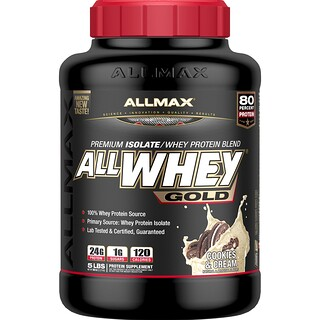 ALLMAX Nutrition, AllWhey Gold, 100% Whey Protein + Premium Whey Protein Isolate, Cookies & Cream, 5 lbs (2.27 kg)