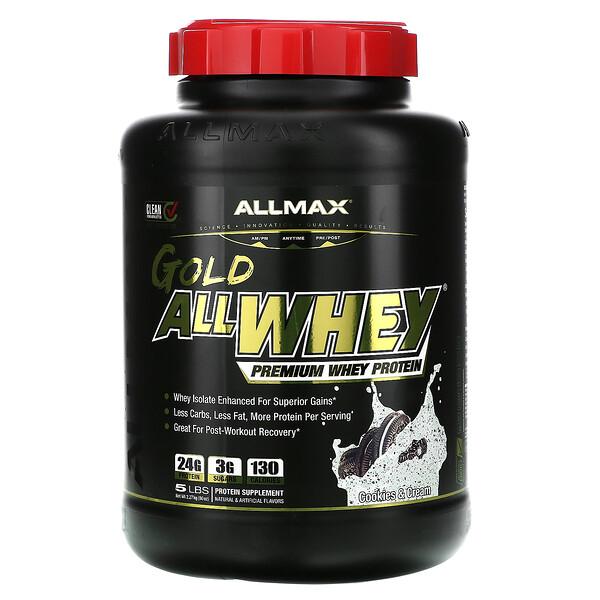 ALLMAX Nutrition, Gold AllWhey، بروتين مصل اللبن الممتاز، بنكهة البسكويت والكريمة، 5 أرطال (2.27 كجم)