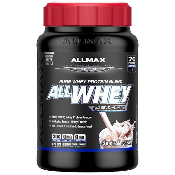 ALLMAX Nutrition, AllWhey Classic,100%乳清蛋白,奶油餅乾味,2磅(907克)
