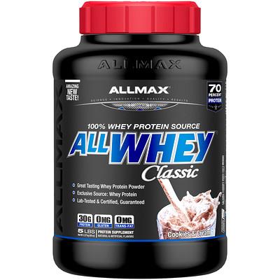 Фото - AllWhey Classic, 100% сывороточный белок, печенье и сливки, 5 фунтов (2,27 кг) gold standard 100% сыворотка аппетитная клубникка 5 фунтов 2 27 кг