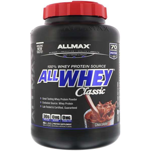 ALLMAX Nutrition, AllWhey Clásico, 100 % Proteína de Suero, Chocolate, 5 lb (2.27 kg)