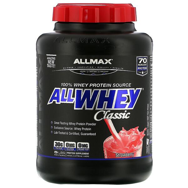 AllWhey Classic, 100% بروتين مصل اللبن، الفراولة، 5 رطل (2,27 كج)