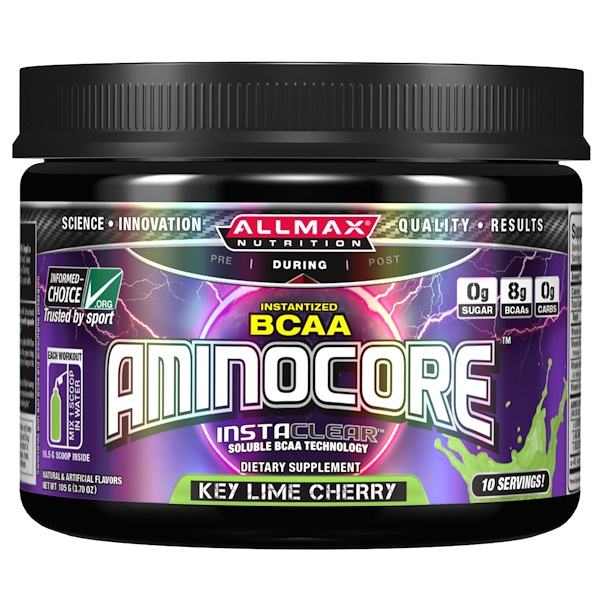 :ALLMAX Nutrition, AMINOCORE, BCAA, 8G BCAAs, 100% Pure 45:30:25 Ratio, Gluten Free, Key Lime Cherry, 3、70 oz (105 g)