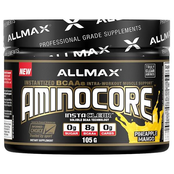 ALLMAX Nutrition, AMINOCORE, аминокислоты с разветвленной цепью, 8 г аминокислот с разветвленной цепью, 100% чистого 45:30:25 соотношения, без глютена, ананас и манго, 3,70 унций (105 г) (Discontinued Item)