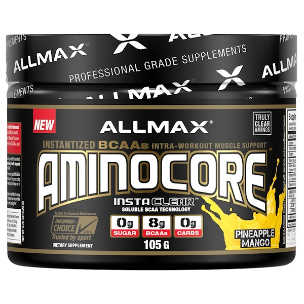 ALLMAX Nutrition, AMINOCORE, BCAA, 8G BCAAs, 100% Pure 45:30:25 Ratio, Gluten Free, Pineapple Mango, 3.70 oz (105 g)