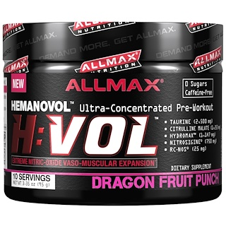 ALLMAX Nutrition, H:VOL, Nitric Oxide Pre-Workout + Vascular Blood Volumizer, Dragon Fruit Punch, 3.35 oz (95 g)