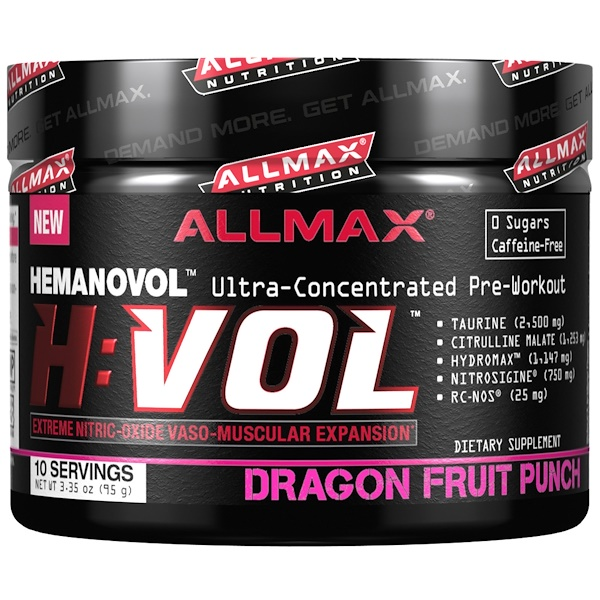 ALLMAX Nutrition, H:VOL, Nitric Oxide Pre-Workout + Vascular Blood Volumizer, Dragon Fruit Punch, 3.35 oz (95 g) (Discontinued Item)