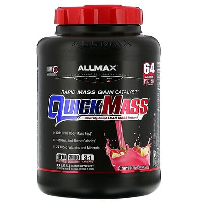 Купить ALLMAX Nutrition Quick Mass, катализатор быстрого набора массы, клубника-банан, 2, 72 кг (6 фунтов)