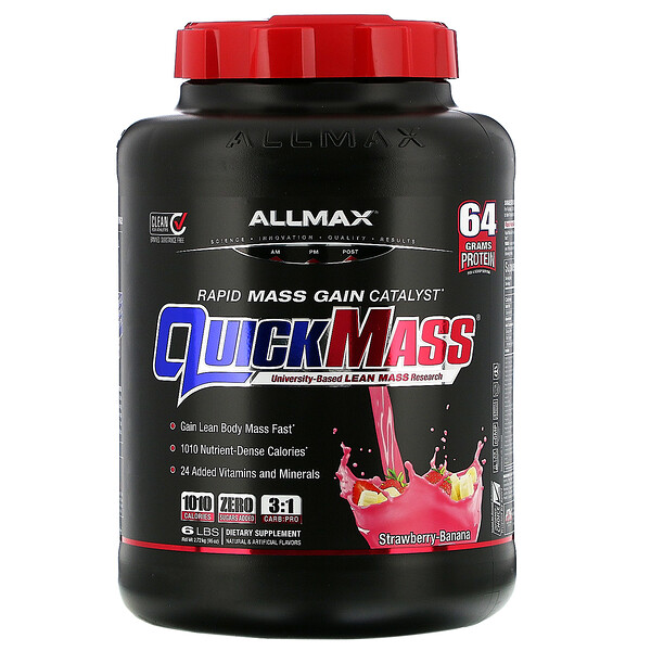 Quick Mass, Rapid Mass Gain Catalyst, Strawberry-Banana, 6 lbs (2.72 kg)