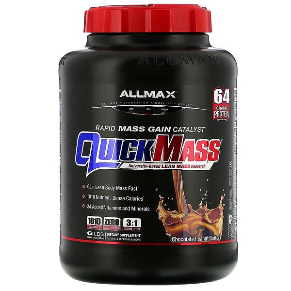 ALLMAX Nutrition, QuickMass، محفز اكتساب الكتلة العضلية السريع، زبدة الفول السوداني بالشيكولاتة، 6 أرطال (2.72 كجم)