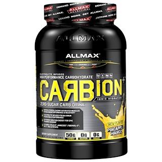 ALLMAX Nutrition, CARBion+, electrolitos para fuerza máxima + bebida energética hidratante, piña y mango, 2.46 lb (1120 g)