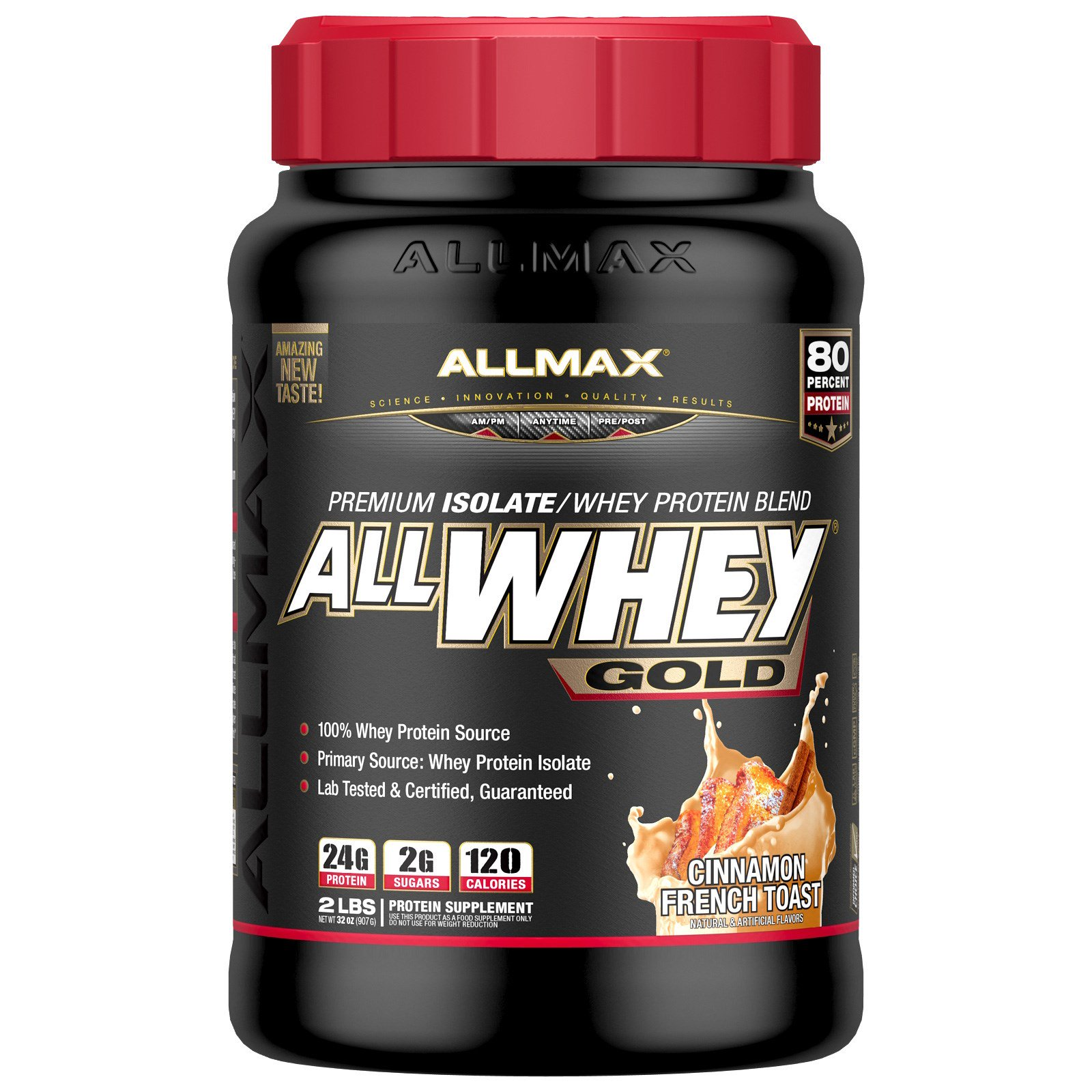 ALLMAX Nutrition, AllWhey Gold, 100% сывороточный протеин + премиум изолят сывороточного протеина, французский тост с корицей, 2 фунта (907 г)