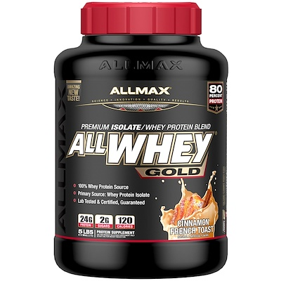 AllWhey Gold, 100% сывороточный протеин + Premium изолят сывороточного протеина, французский тост с корицей, 5 ф. (2,27 кг)