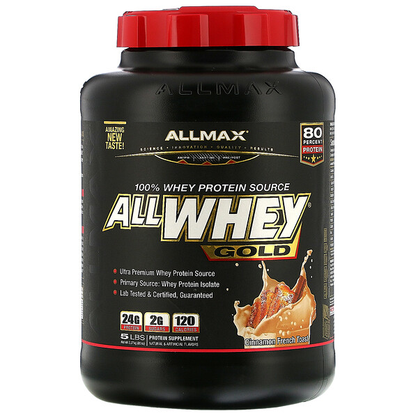 ALLMAX Nutrition, AllWhey Gold, 100% Whey Protein + Premium Whey Protein Isolate, Cinnamon French Toast, 5 lbs. (2.27 kg) (Discontinued Item)