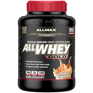 ALLMAX Nutrition, AllWhey Gold, 100% сывороточный протеин + Premium изолят сывороточного протеина, французский тост с корицей, 5 ф. (2,27 кг)