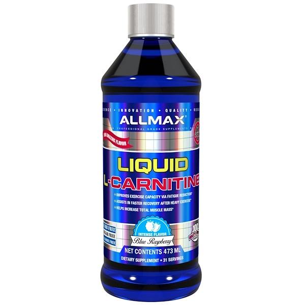 ALLMAX Nutrition, L-Carnitine Liquid + Vitamin B5, Blue Raspberry Flavor, 16 oz (473 ml)